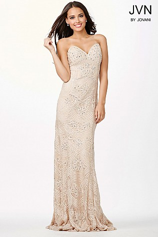 Nude Sweetheart Neckline Crystal Embellished Prom Dress JVN29349
