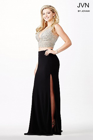 Two-Piece High Slit Prom Dress JVN26306