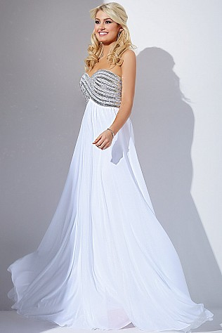 White Sweetheart Neckline Prom Dress JVN30012
