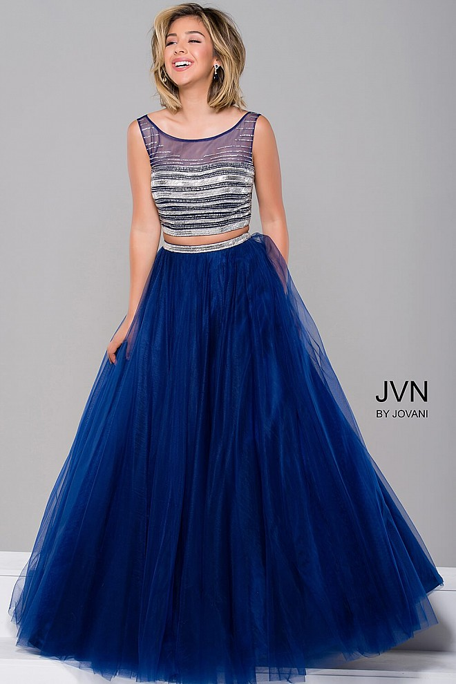 Navy Blue Embellished Top Two Piece Dress JVN30023