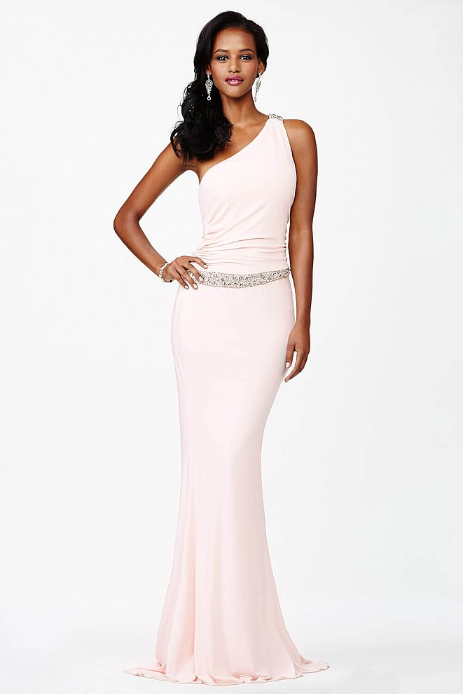 Pink One Shoulder Prom Dress JVN3064