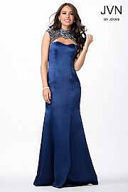 Navy Open Back Cap Sleeve Dress JVN31300