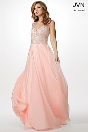 Pink Sleeveless Beaded Chiffon Dress JVN31322