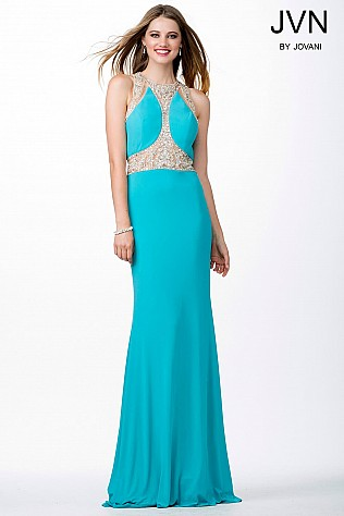 Turquoise Floor Length Open Back Dress JVN31355