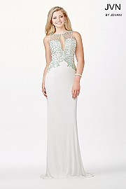 Ivory Keyhole Embellished Fitted Dress JVN31376