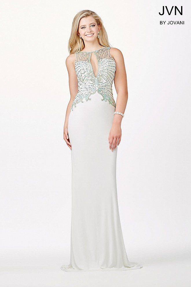 Ivory Keyhole Embellished Fitted Dress JVN31376