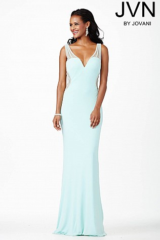 Blue Fitted Prom Dress JVN31409