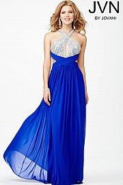 Blue Halter Open Back Dress JVN31427