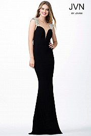 Black Jersey Fitted Prom Dress JVN31439
