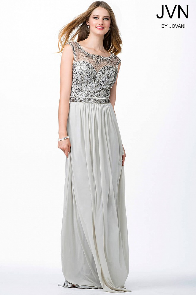 Grey Sleeveless Beaded Dress JVN31440