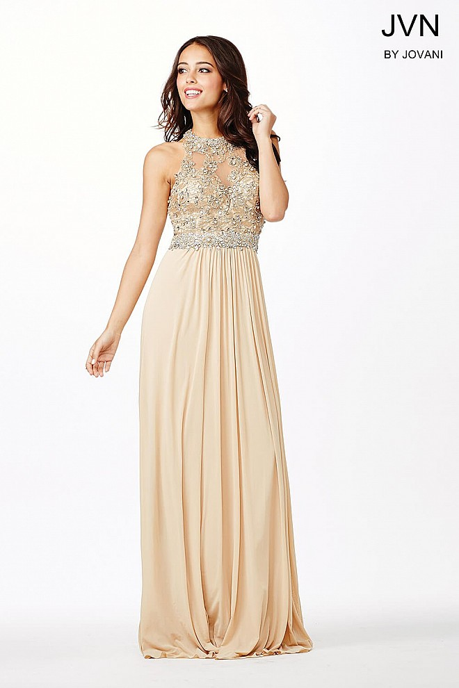 Nude sleeveless lace prom dress with sheer neckline