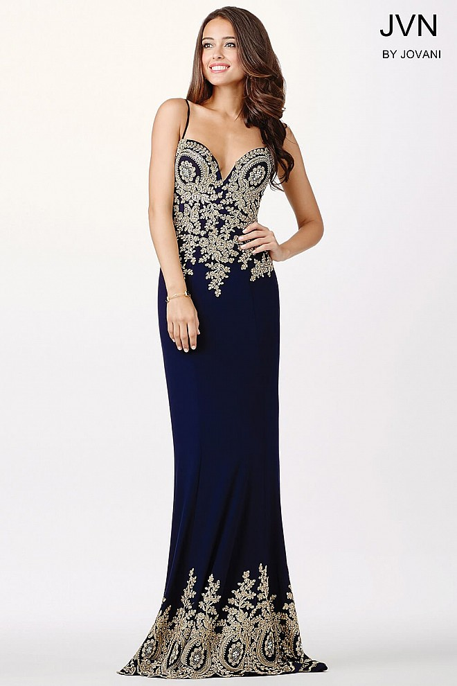 Navy Sweetheart Neckline Dress JVN31491