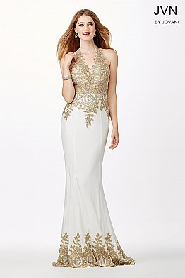 White and Gold Fitted Prom Dress JVN31492
