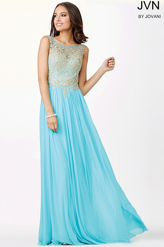 Blue Chiffon Sheer Neckline Dress JVN31494