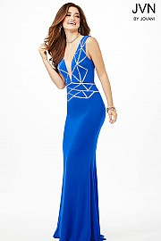 Blue Sleeveless Floor Length Fitted JVN31501