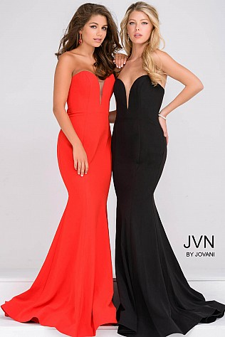 Red and Black sweetheart Neck Mermaid Prom Dress JVN31607
