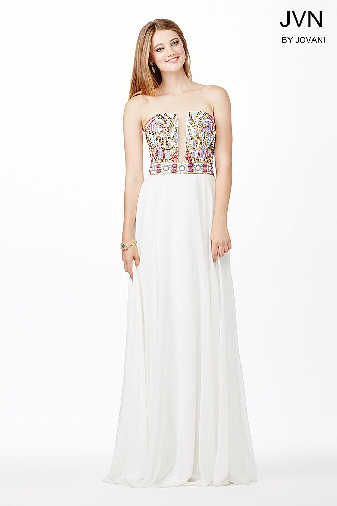 White Multi Chiffon Prom Dress JVN31751