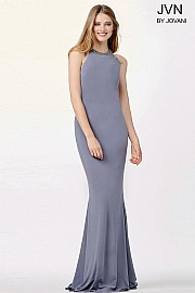 Grey Sheer Back Fitted Dress JVN31934