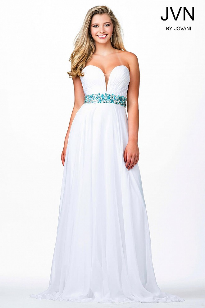 White Sweetheart Chiffon Prom Dress JVN32108