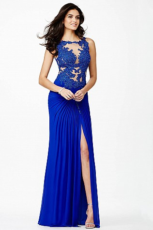 Blue Sleeveless Prom Dress JVN32210
