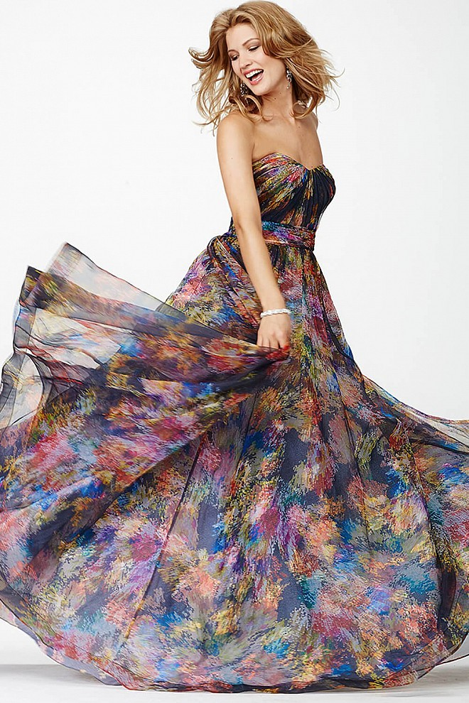 Multicolored Strapless Ballgown JVN32622