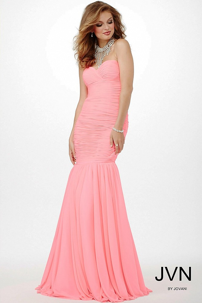 Pink Ruched Trumpet Dress JVN32691