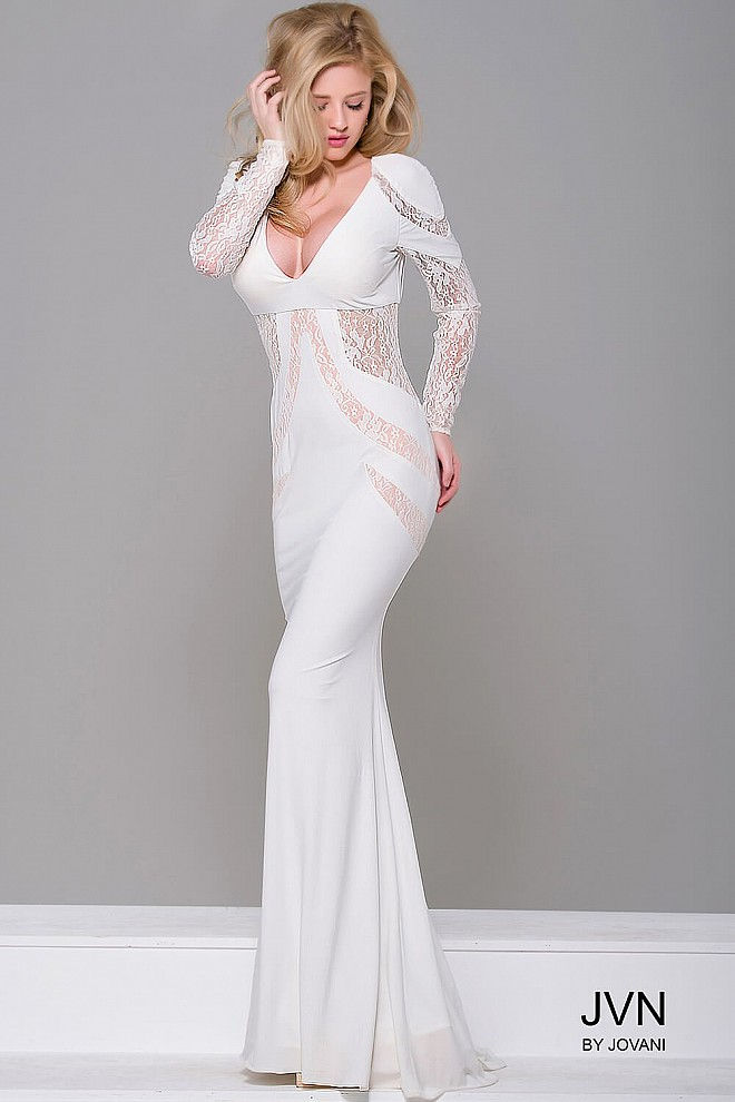 Ivory Jersey Long Sleeve Dress JVN32910