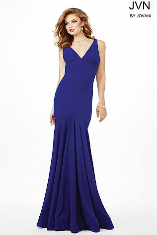 Indigo V-Neckline Trumpet Dress JVN33055