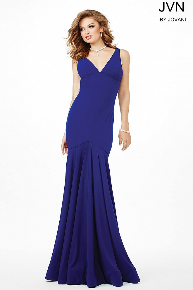 ae4e749858 Simple and sexy jersey fully lined mermaid prom dress with v open back.