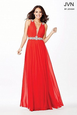 Red Crystal Embellished Dress JVN33180