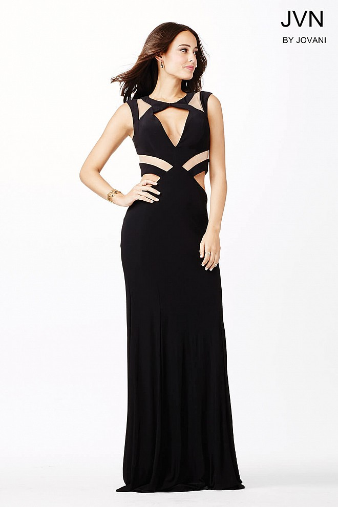 Black Cut Out Prom Dress JVN33419