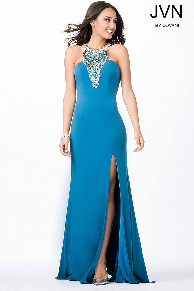 Peacock Halter High Slit Dress JVN33476