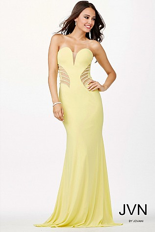 Yellow Sweetheart Neckline Dress JVN33477