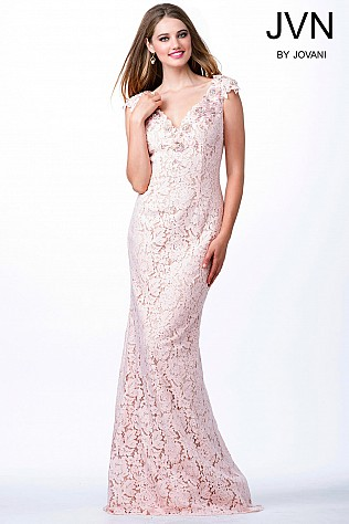 Pink Cap Sleeve Lace Fitted Dress JVN33578