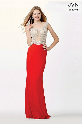 Red Embellished Fitted Dress JVN33626