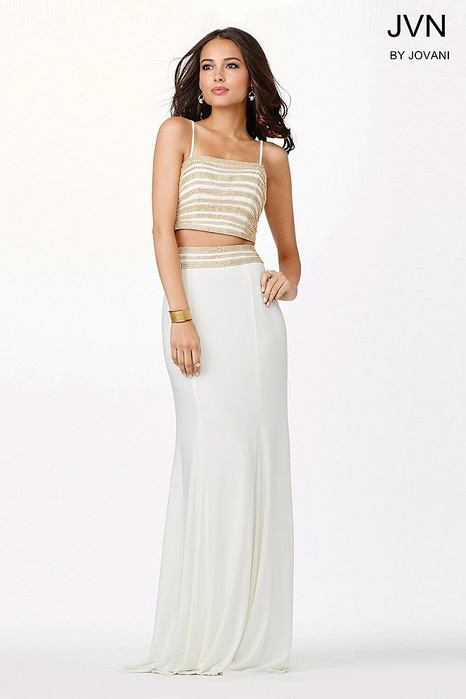 White and Gold Two-Piece Dress JVN33627