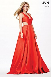 Red Cut Out Taffeta Ballgown JVN33656