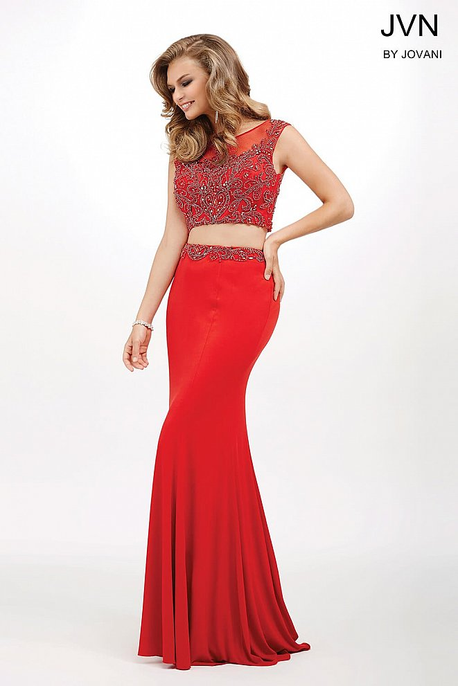 Red Two-Piece Jersey Dress JVN33699