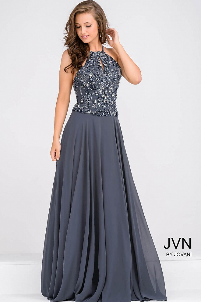 Charcoal Halter Neck Embellished Chiffon Skirt Prom Dress With Open