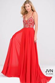 Red Beaded Bodice Open Back Chiffon Dress JVN33701