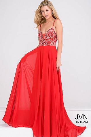 Red Beaded Bodice Open Back Chiffon Dress JVN33701