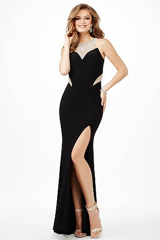 Black High Slit Fitted Prom Dress Jvn33708