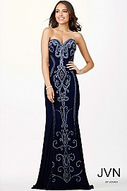 Navy Sweetheart Neckline Dress JVN33745