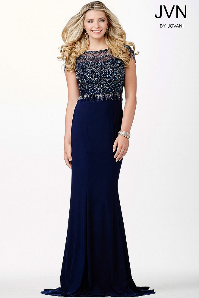 Navy Jersey Beaded Dress JVN33737