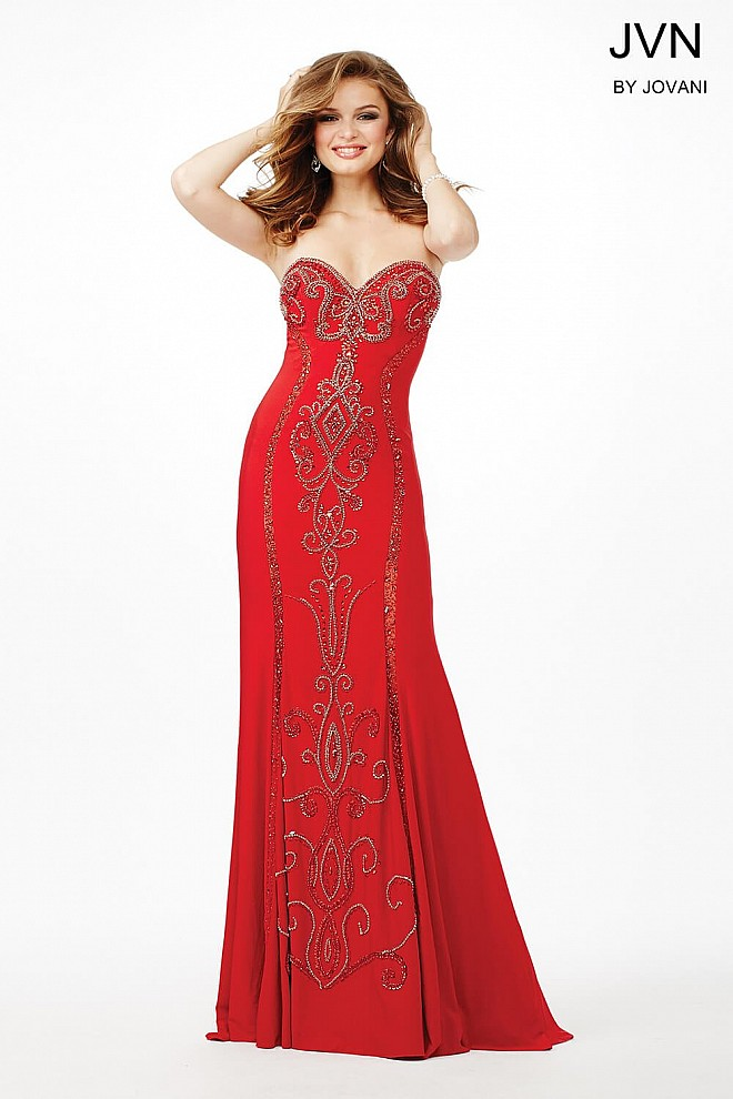 Red Strapless Jersey Dress JVN33745
