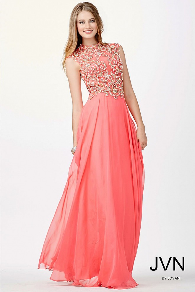 Coral high neck chiffon dress with embellished bodice and high neckline.