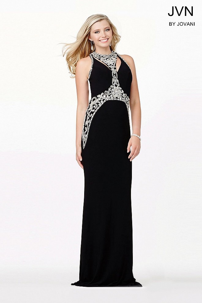 Black Sleeveless Embellished Dress JVN33755