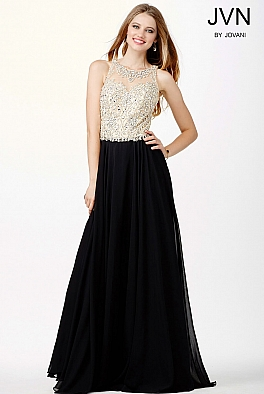 Black Sheer Neckline Chiffon Dress JVN33758