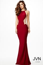 Jvn Burgundy Sleeveless Fitted Dress JVN33759