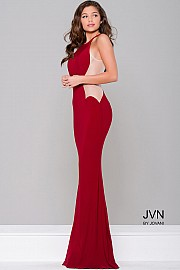 Burgundy Fitted Sheer Panel Prom Dress JVN33759